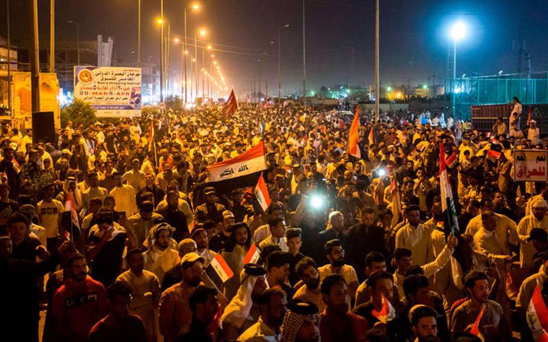 بغداد میں ایران اورالقدس فورس کے خلاف مظاہرے